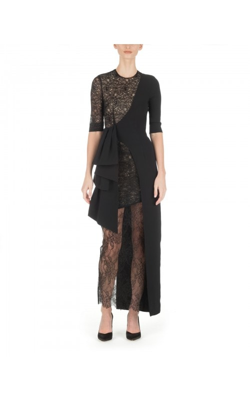 ASYMMETRICAL BLACK LACE MIDI