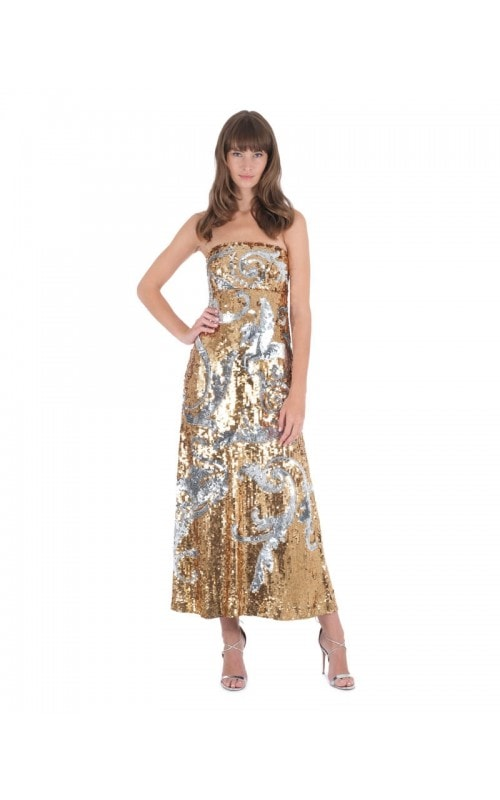 Strapless Sequin Embroidered Gown