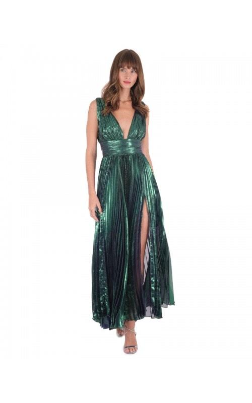 Merida Plunging Metallic Dress