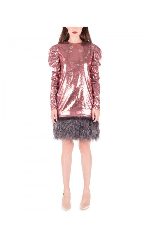 Aurora Feather Hem Sequin Dress