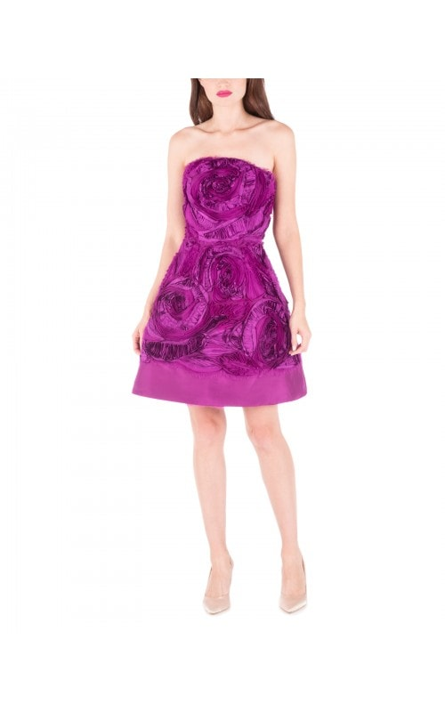 3D Floral Organza Strapless Mini Dress