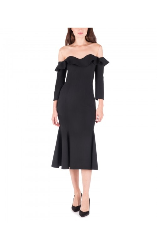 Ruffled Dress with Illusion Neck