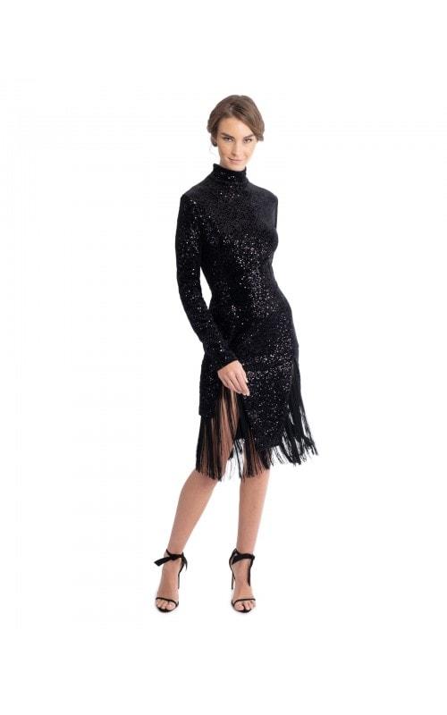 High Neck Velvet Dress with Fringe