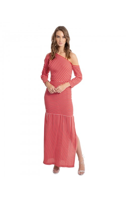 Vintage Striped Asymmetric Dress