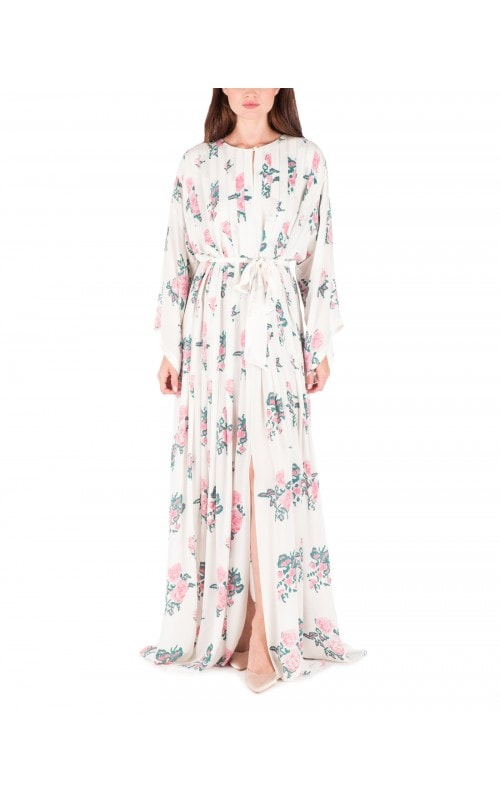 Floral Print Pleated Caftan