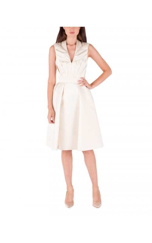 Ivory Satin Fit and Flare Dress