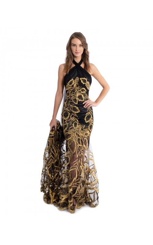 Black And Gold Halter Gown
