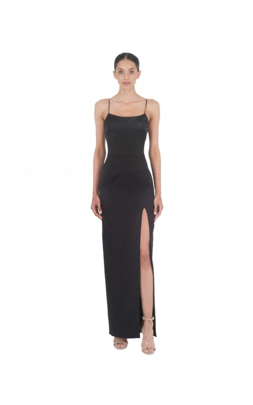 Black Satin Gown with Slit