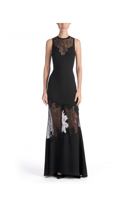 Lace Cut Out Effect Sleeveless Gown
