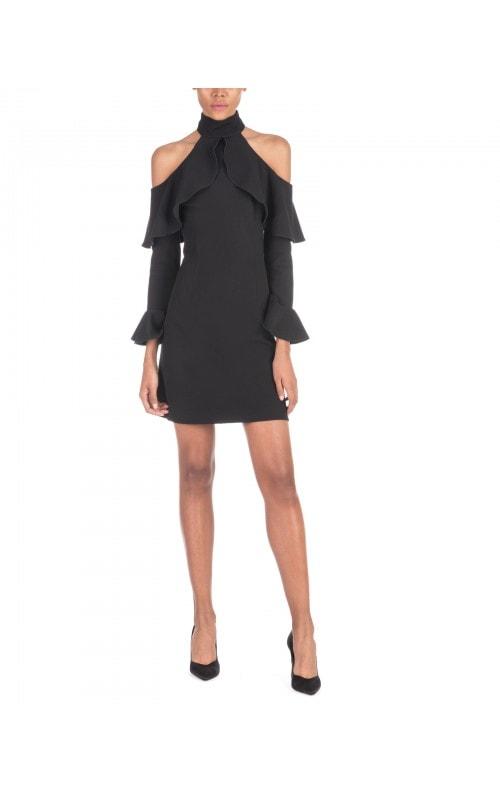 Black Cold Shoulder Mini Dress
