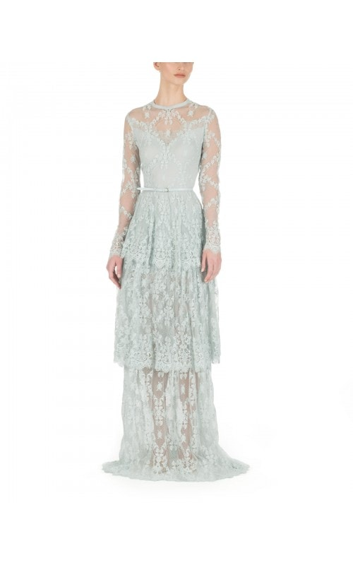 Ice Blue Embroidered Lace Gown