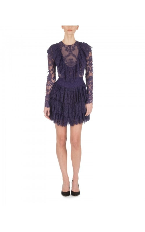 Royal Purple Ruffled Lace Mini
