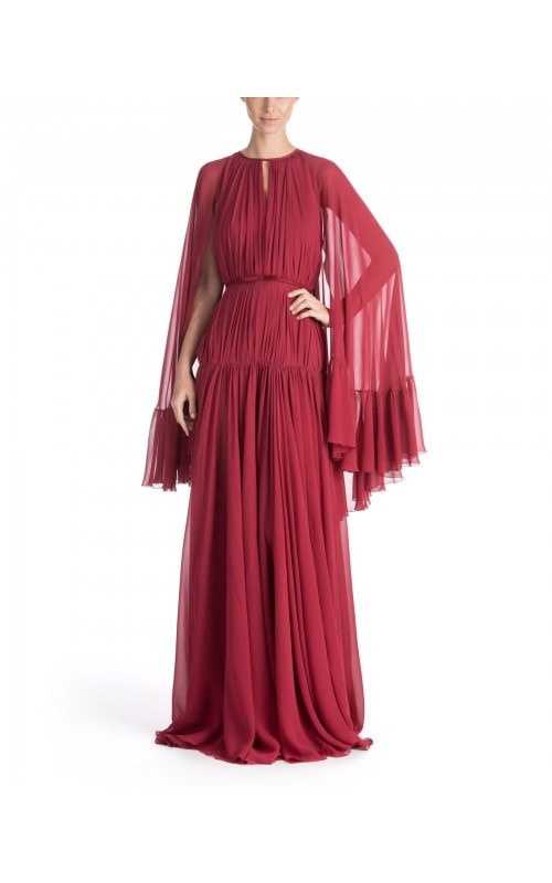 Cape-Effect Silk Georgette Gown