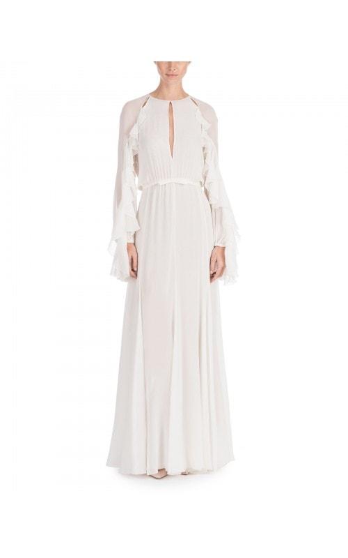 Ruffle Detail Silk Chiffon Gown