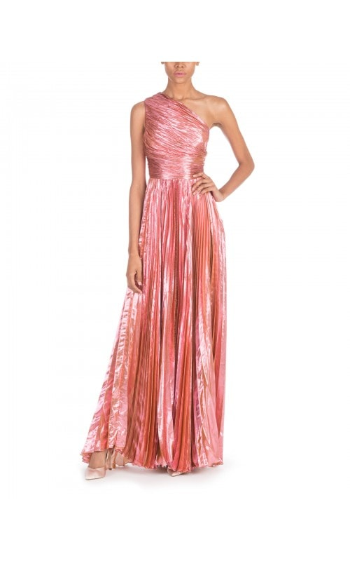 One Shoulder Metallic Bela Gown