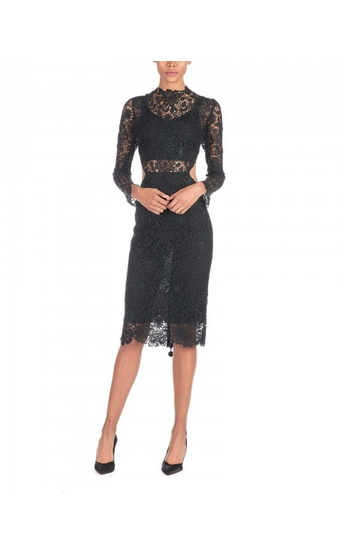 BLACK LACE CUT OUT PENCIL DRESS