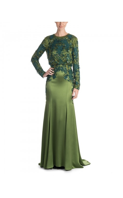Satin Gown With Embroidered Bodice