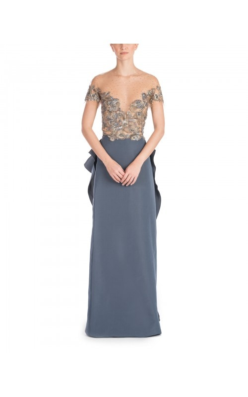 Steel Blue Embellished Gown