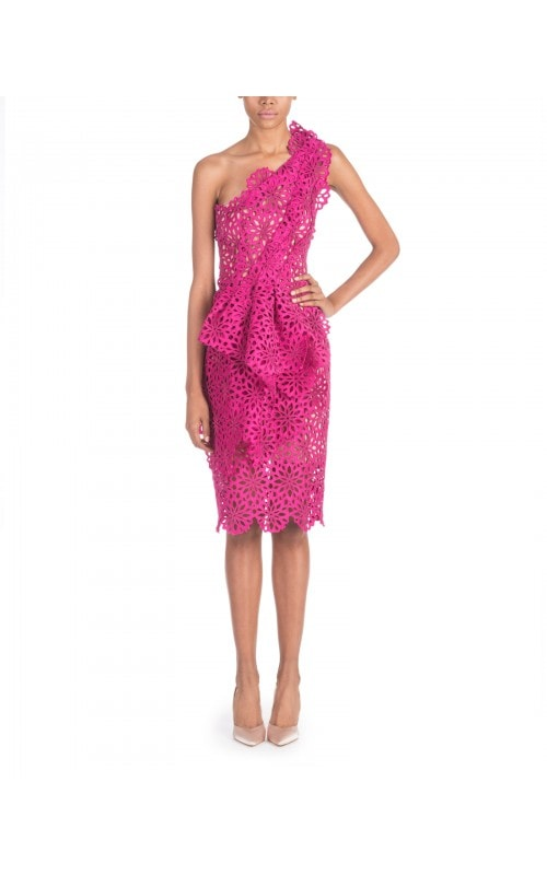 FUCHSIA CUT OUT EFFECT DRESS