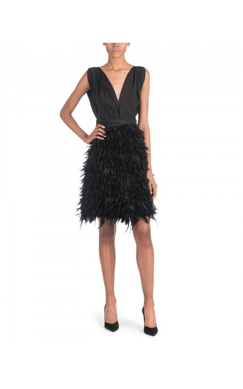 Black Mini Dress With Feather Skirt