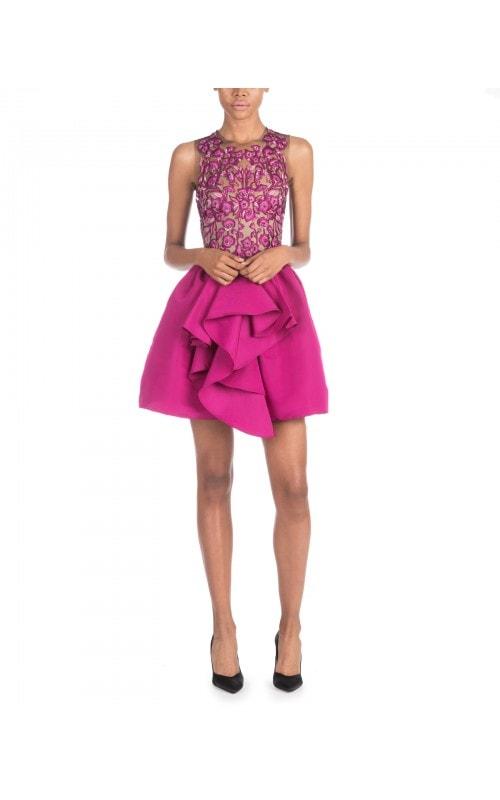 Magenta Embroidered Mini Dress