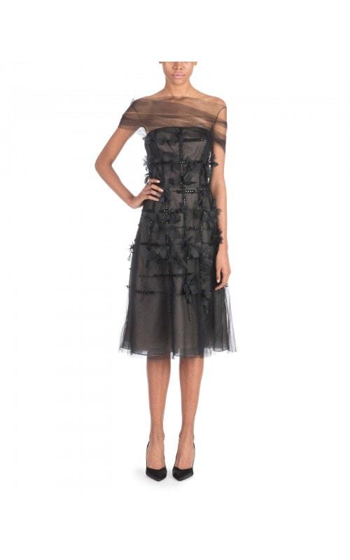 Tulle Overlay Beaded Dress