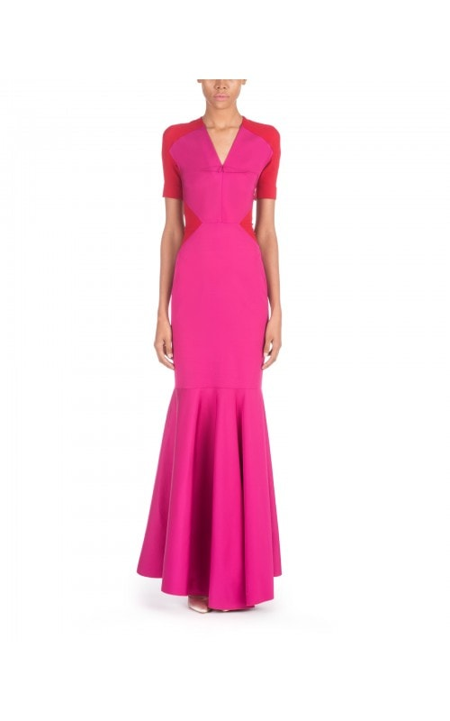 Short Sleeve Silk Trumpet Gown