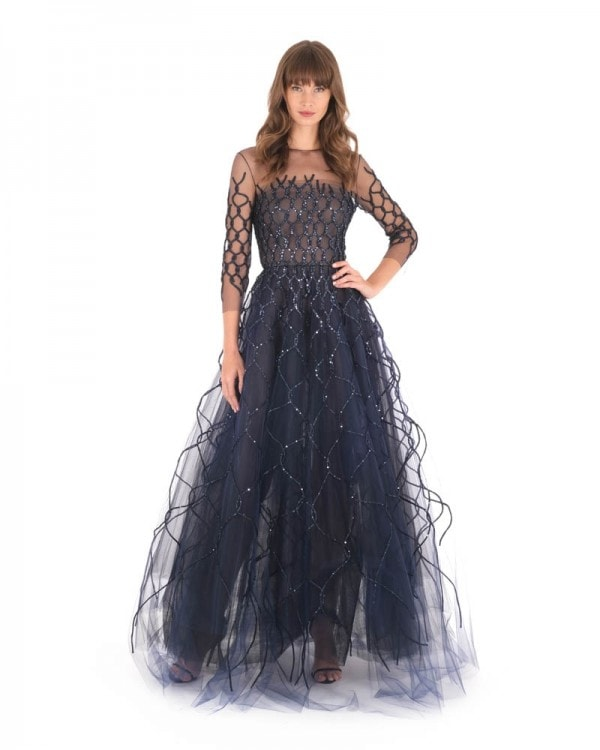 Illusion Neckline Embroidered Gown