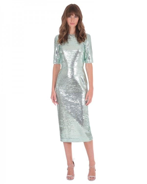 Aqua Sequin Short Sleeve Dress