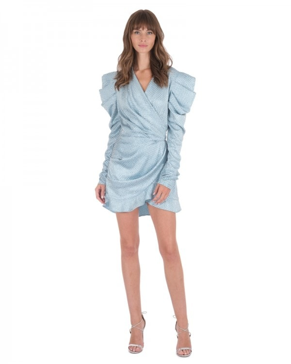 Strass Embellished Mini Wrap Dress