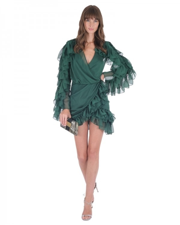 Ruffled Chiffon Mini Dress