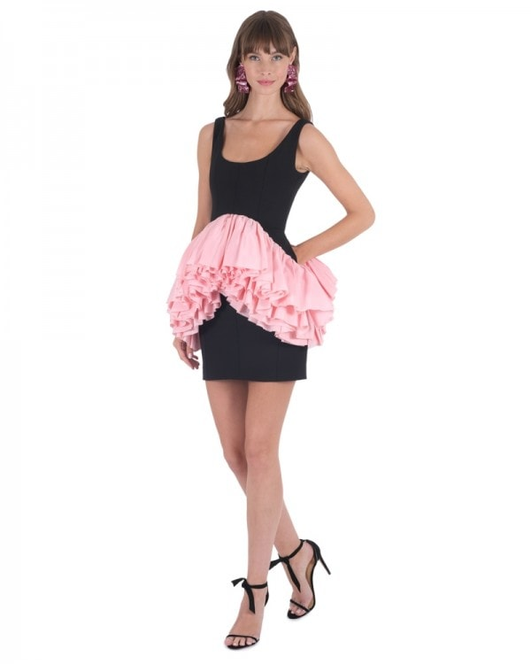 Mini Dress with Pink Ruffles