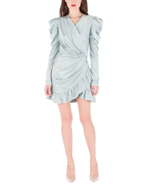 Strass Embellished Mini Wrap Dress