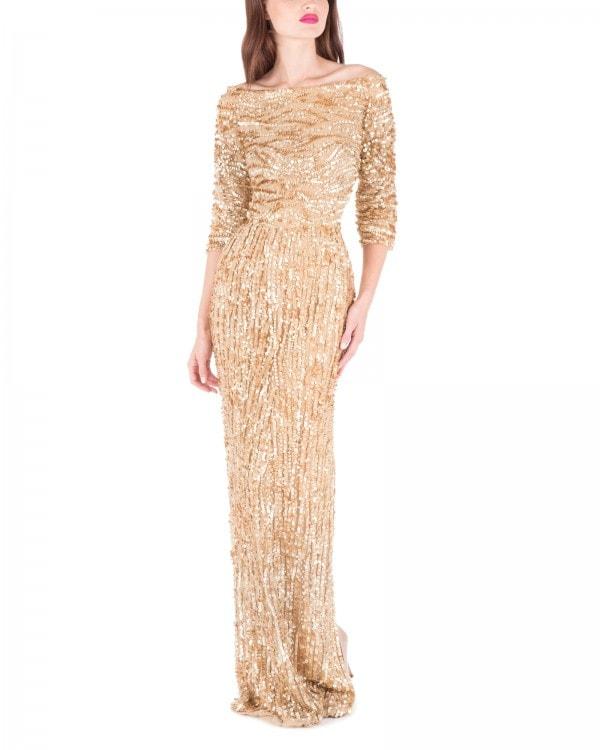 Antique Gold Off Shoulder Gown