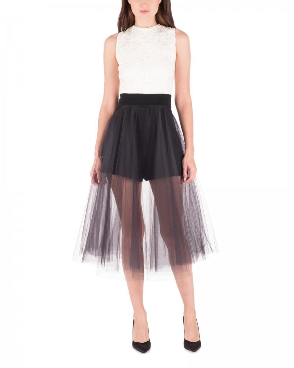 Two Tone Playsuit with Tulle Skirt