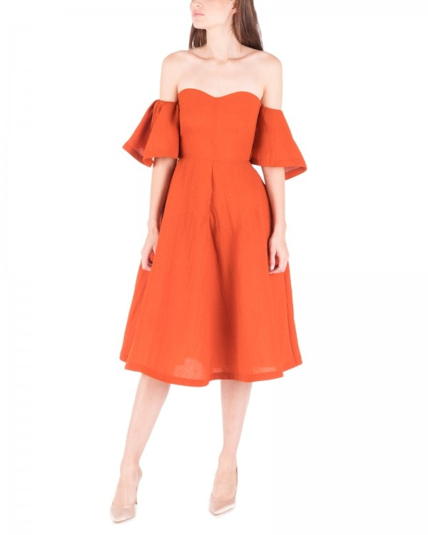 Off Shoulder Burnt Orange Dress