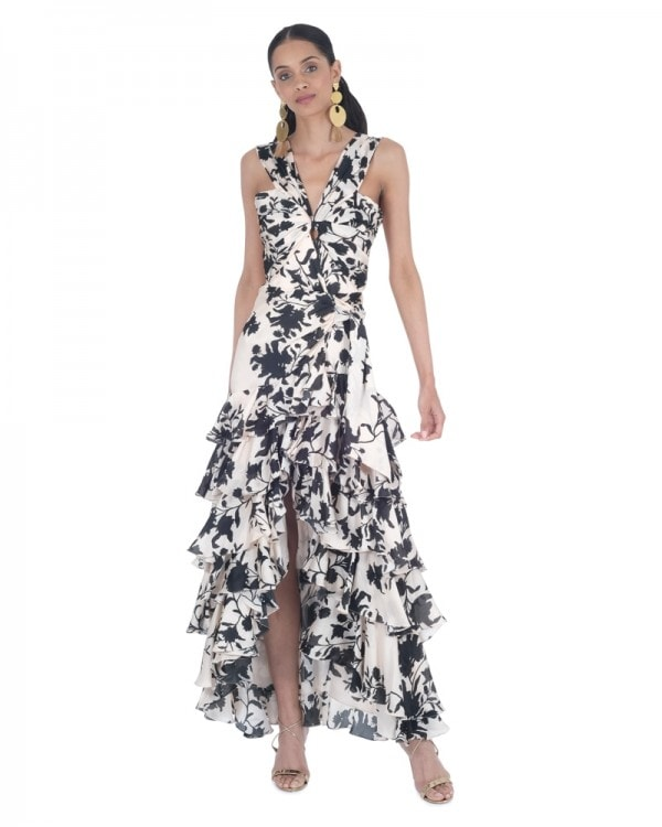 Black Ginger Floral Georgette Dress