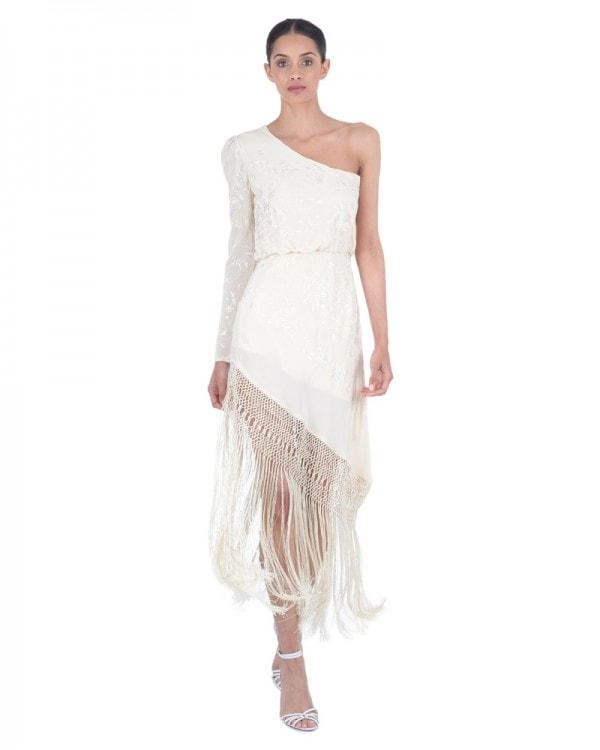 Sevillana Tan Sonriente Fringed Dress
