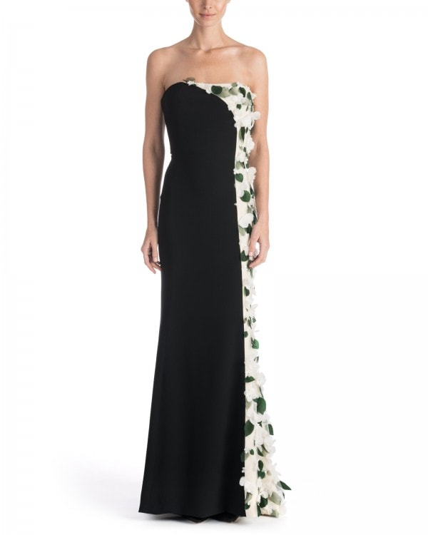 Floral Appliqué Bi-Color Gown