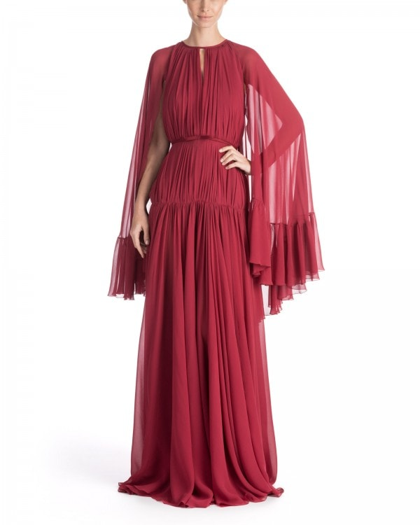 Cape-Effect Silk Georgette Gown