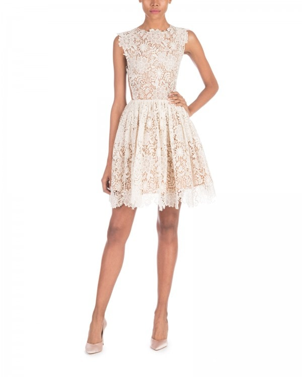 Ivory Lace Fit And Flare Mini Dress