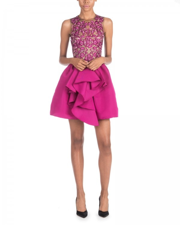 Magenta Embroidered Mini Dress