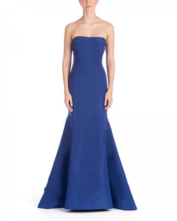Strapless Ruffle Back Mermaid Gown