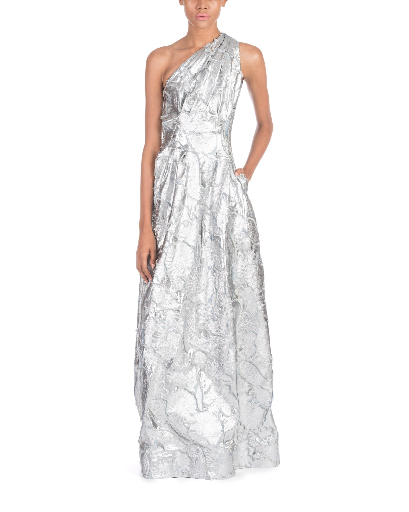 One Shoulder Jacquard Gown