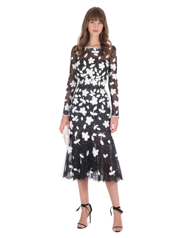 Tulle Floral Embroidered Dress