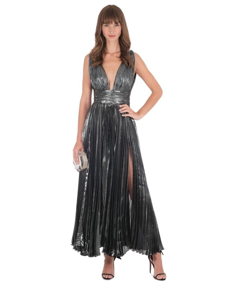 Sada Plunging Metallic Dress