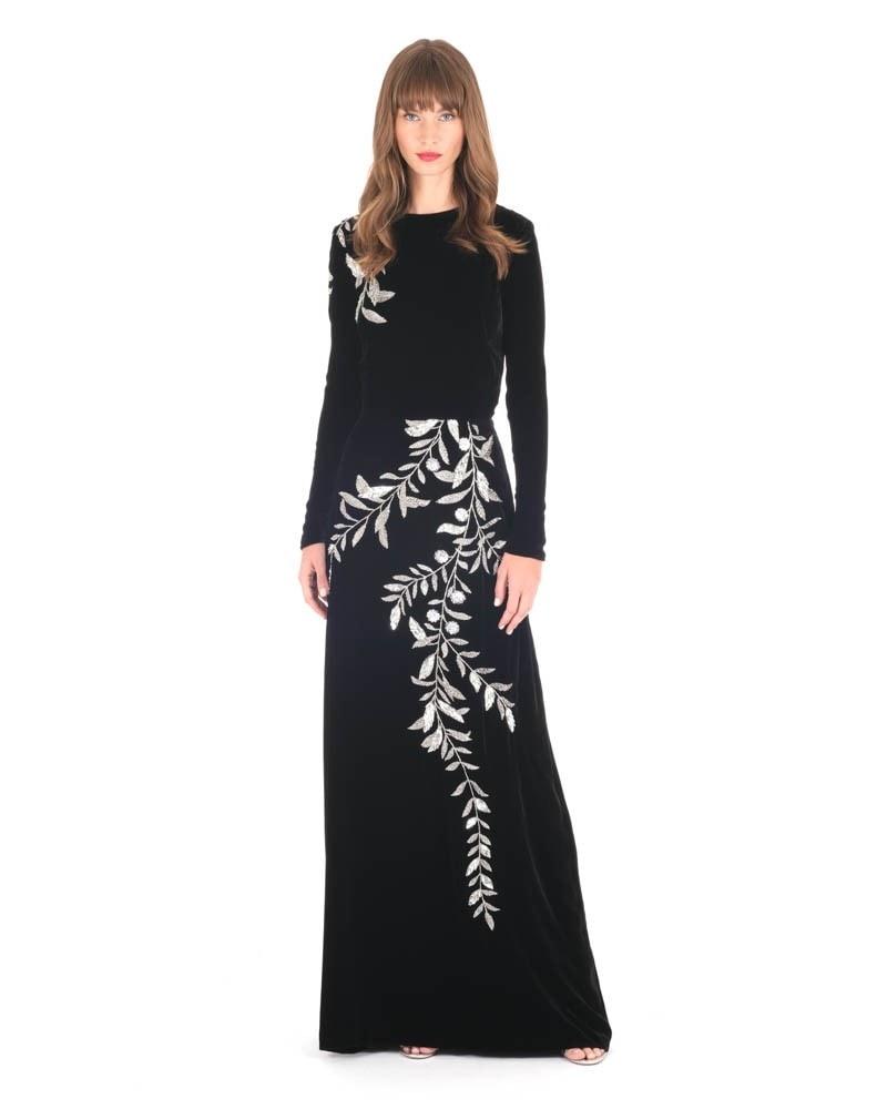 Velvet Long Sleeve Embroidered Gown