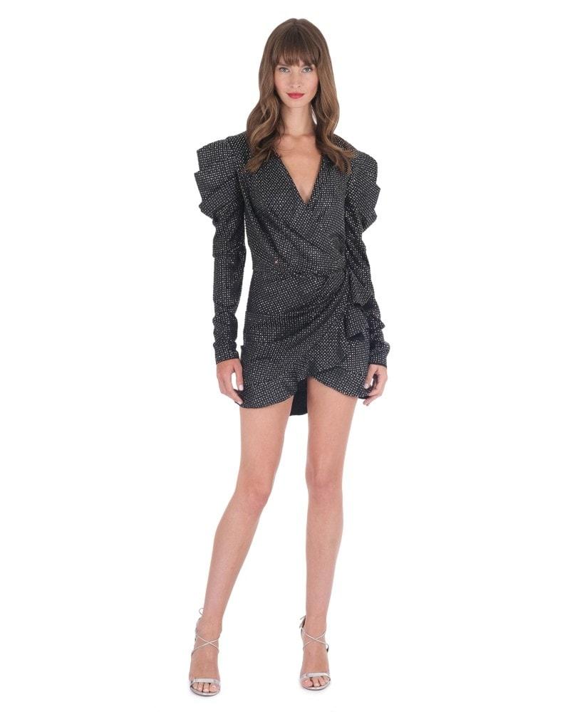 Strass Embellished Black Mini Dress