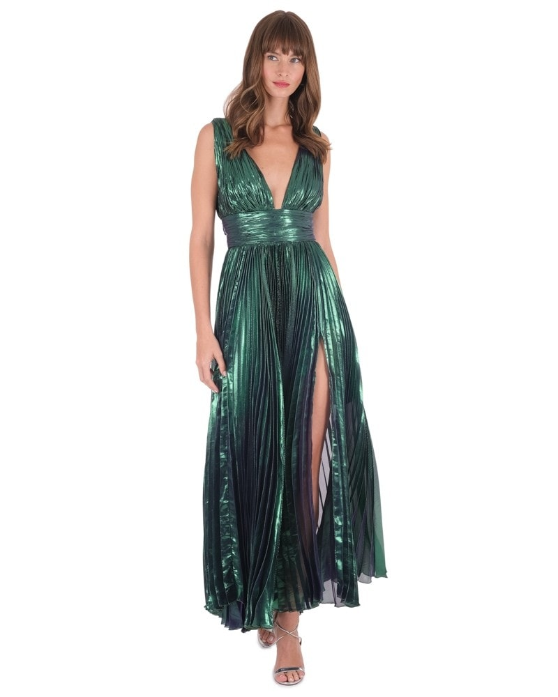 Merida Plunging Metallic Dress