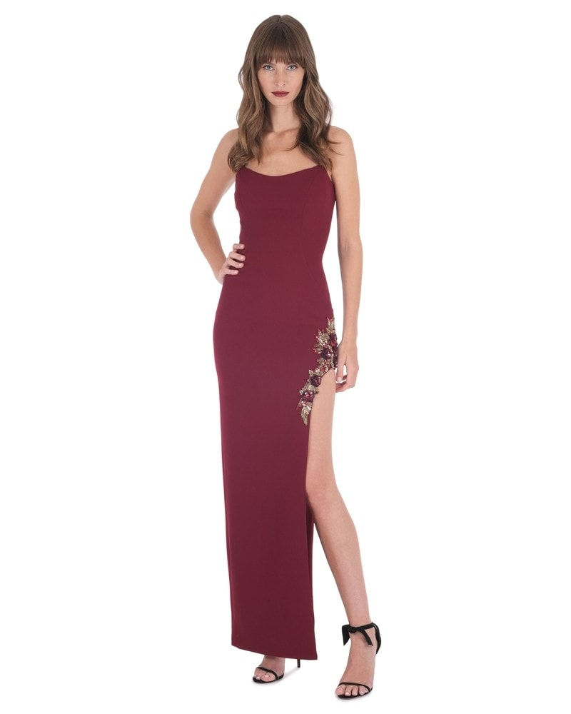 Strapless Gown with High Slit